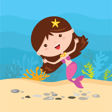 Little mermaid under the water.