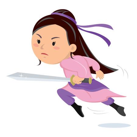 Female warrior. Female warrior holding sword. Illustration