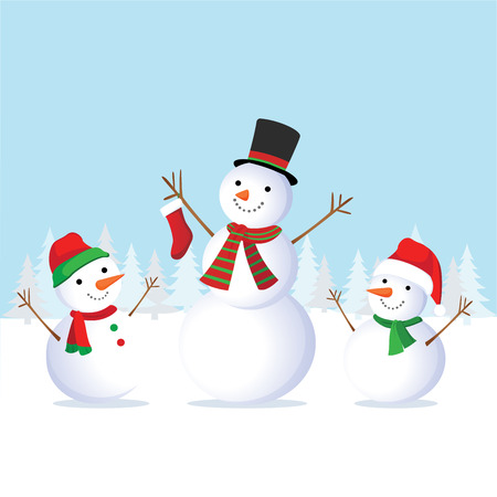 Winter fun. Cheerful snowman and friends. Snowman family. Illustration