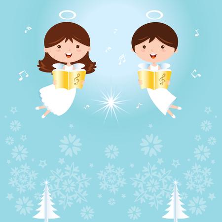 Engelen zingen. Zingen hoeken op sparkles ontwerp elementen achtergrond. Stock Illustratie