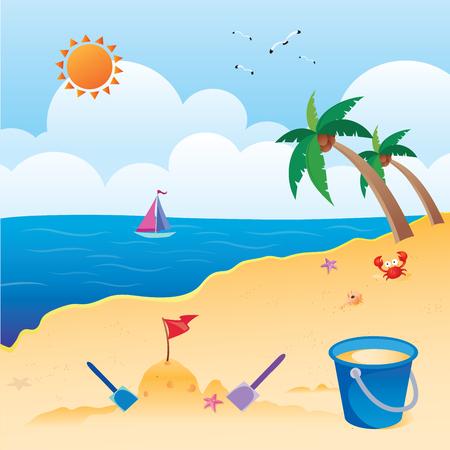 Beautiful beach. Sun in blue sky with palm trees on the sand. Fun in the sun!