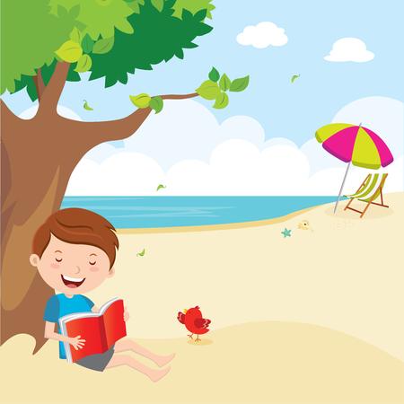 Boy reading book under the tree Vetores