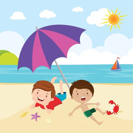 Boys fun in the sun. Little boys playing and lying on the beautiful beach. Illustration
