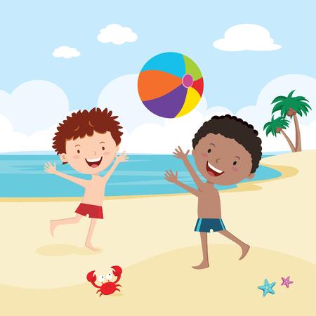 boys playing beach ball