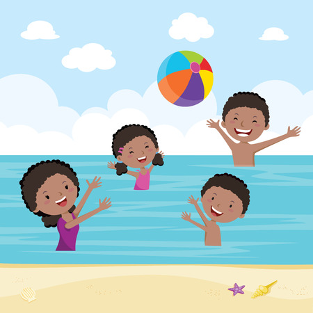 Family playing ball game in the sea. Happy family playing beach ball in the sea. Illustration