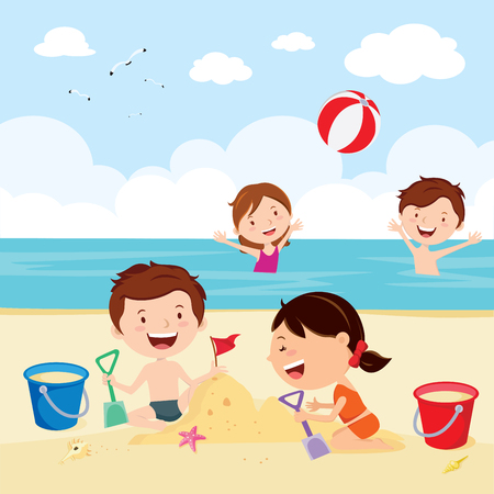 boy swim: Fun at the beach. Happy kids building sand castles and playing beach ball.