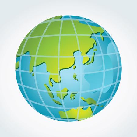 Globe, Asia Oceania Illustration