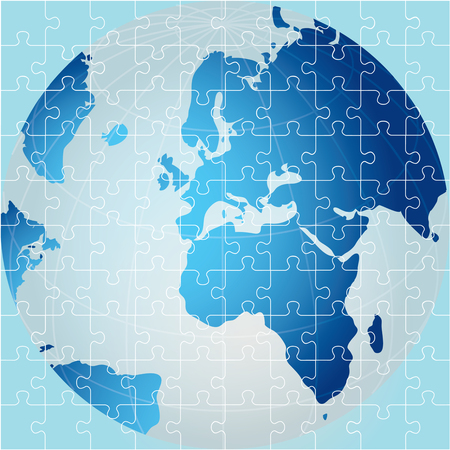 Puzzle of Globe, Africa view