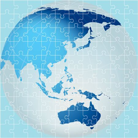 Puzzle of Globe, Oceania view