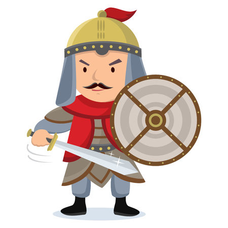 Knight. Warrior posing with shield and sword. Illustration