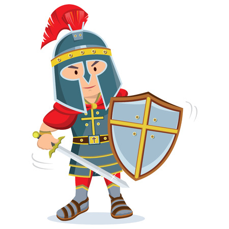 Knight. Warrior with armor and shield holding a sword.
