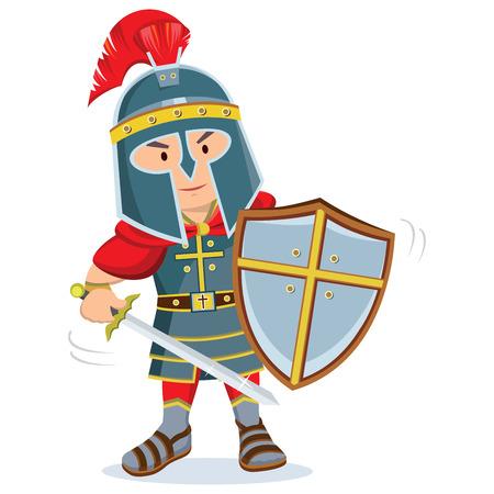 Rycerz. Wojownik z zbroją i tarczą trzymającą miecz.