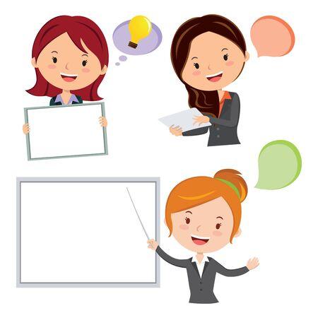 woman laptop: Business Presentation concept. Illustration