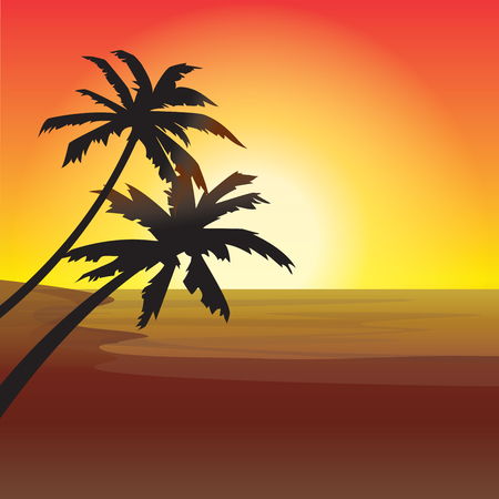 Two palm trees silhouette on sunset beach Illustration