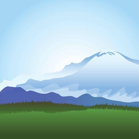 skiing: Snowy mountains illustration.