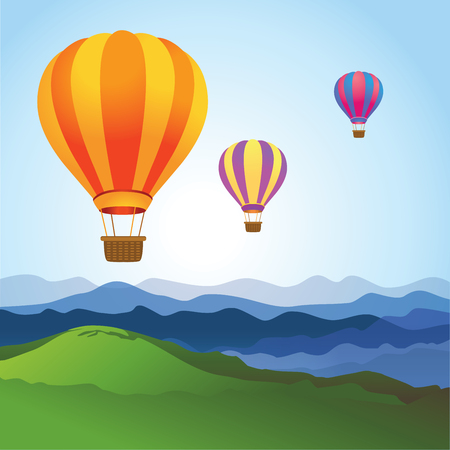 floating: Hot air balloons on the blue sky.