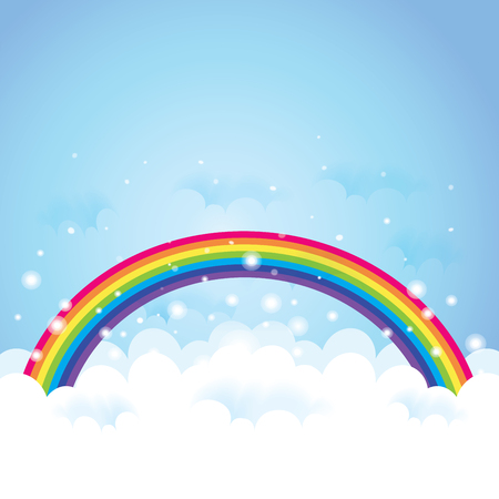 Cloudscape with blue sky and cloud with rainbow. 版權商用圖片 - 89000783