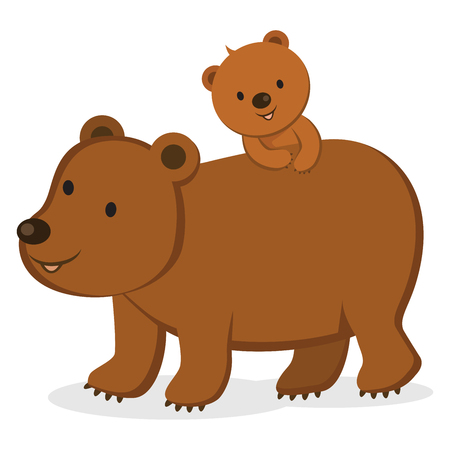 Mother bear with her cub. Illustration
