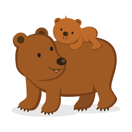 Mother bear and her baby bear.