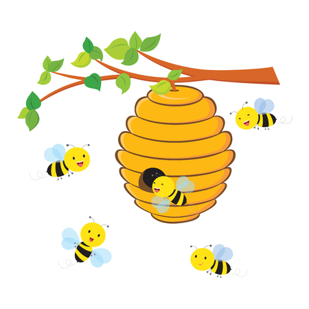 Busy bees flying around a beehive.