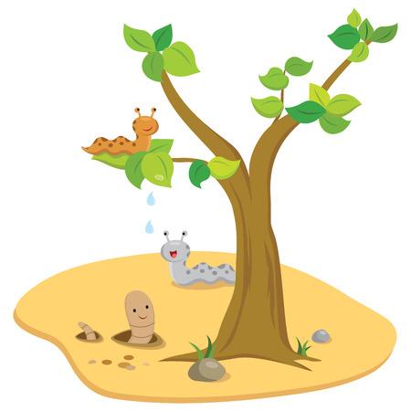 lombriz de tierra: Slug and earth worm in the garden. Vector illustration. Vectores
