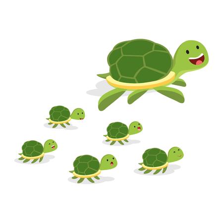 Turtle and baby turtles illustration. Illustration