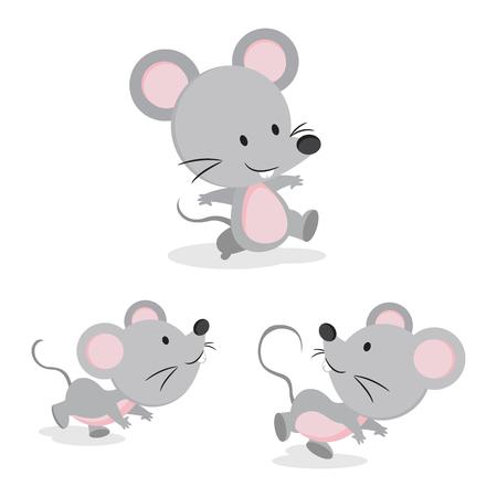 Leuke muis in verschillende pose illustratie.