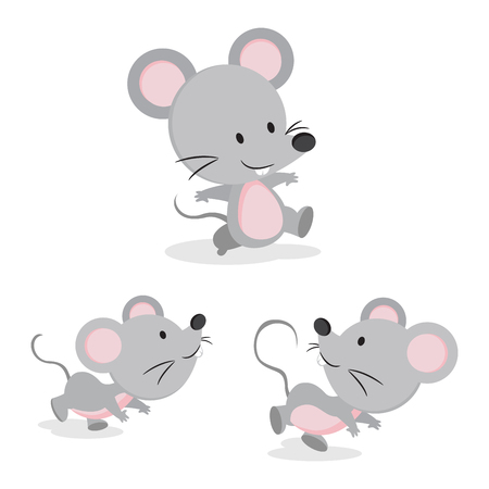 Cute mouse in different pose illustration.