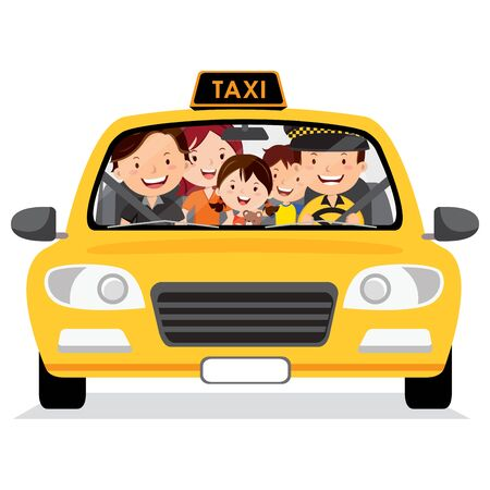 Family in the taxi cab illustration. Illustration