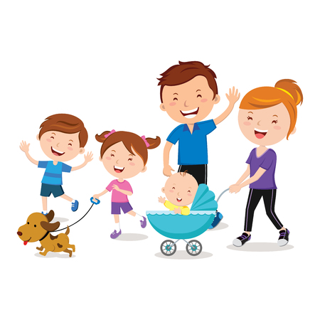 Happy family walking with a pet dog and a baby in stroller illustration.