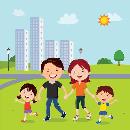 Family walk in the neighborhood illustration. Illustration