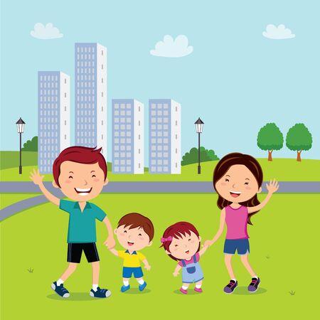 Family walk in the neighborhood