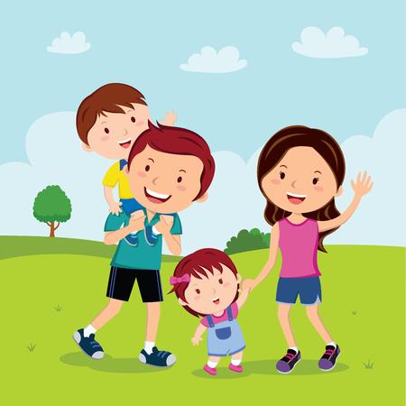 공원에서 산책하는 가족
