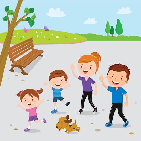 公園を歩く家族 写真素材 - 89001437