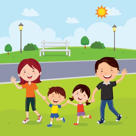 Família caminhando no parque