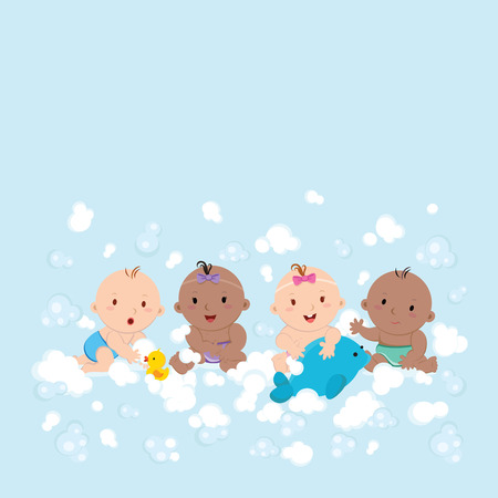 scrubbing: Multicultural babies playing with foam bubbles