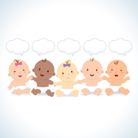 Multiracial babies with speech bubbles. Interracial group of babies and toddlers holding hands.