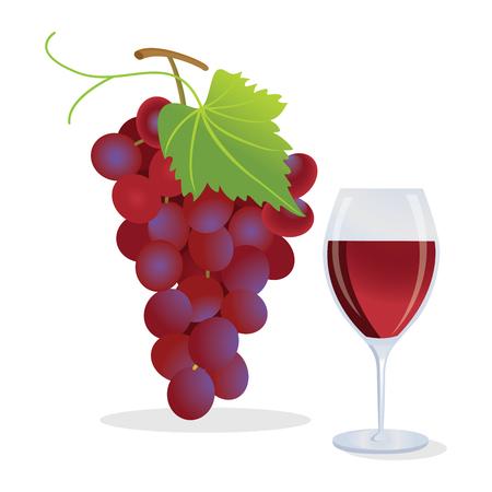 Druiven en wijn Stock Illustratie