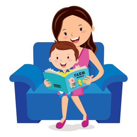 Mother and child reading book Çizim