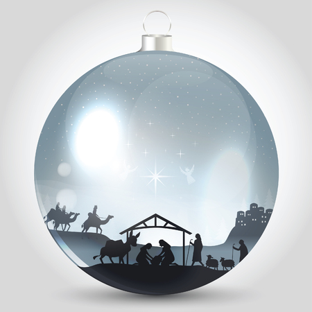 Christmas ball with nativity scene