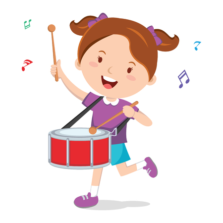 Little girl playing drum vector illustration 向量圖像