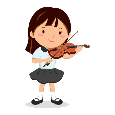 Little girl playing violin vector