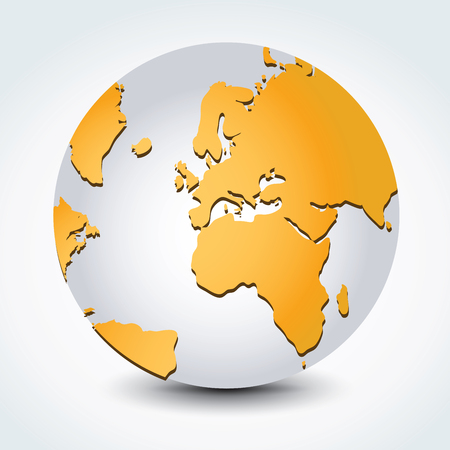 A Vector illustration of Global map in Africa, Middle East and European continents view.