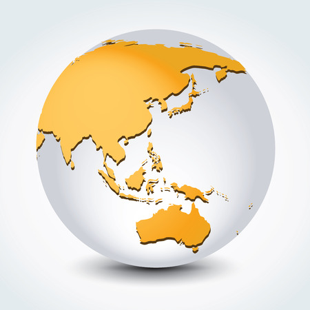 Global illustration of Global map in Asian continent view.