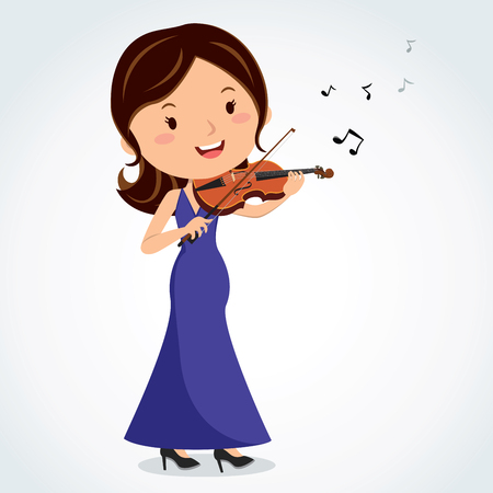 Woman playing violin on white background, vector illustration.