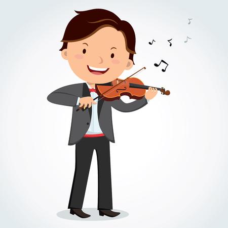 Man playing violin, cartoon vector illustration