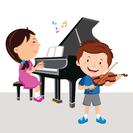 Kids plays piano and violin together, a cartoon sketch vector illustration