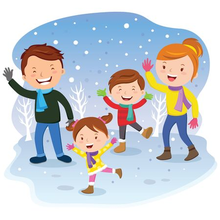 Family day. Winter vacation. Cheerful family having fun in the snow. Illustration