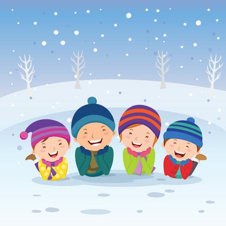 Winter fun. Family lying in the snow.