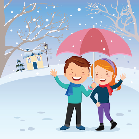 Winter fun. Lovely couple gesturing in the snow. Young couple holding umbrella at winter time. Honeymoon.